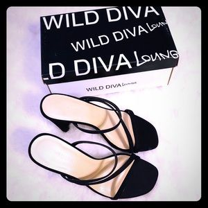 NEW Ferrara Black Strapy Heels by Wild Diva